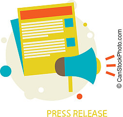 Press Release. - vector illustration in a flat style. Press ...