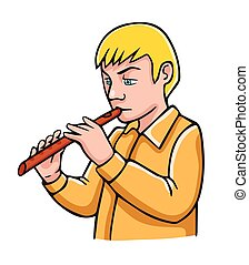 Vector illustration in cartoon style isolated on white. Boy with flute.