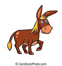 Vector illustration in cartoon style isolated on white. Donkey.