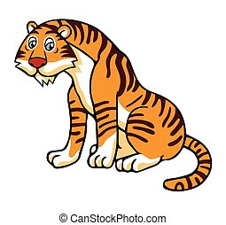 Vector illustration in cartoon style isolated on white. Tiger.