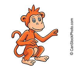 Vector illustration in cartoon style. Monkey.