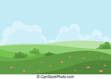 Vector illustration in cartoon style with fields and green hills. Spring or summer landscape.