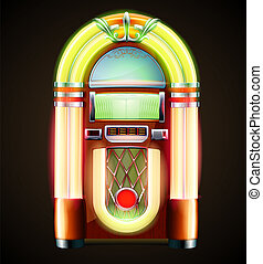 classic juke box - Vector illustration in eps 10 of retro ...
