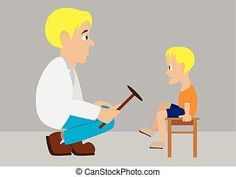 Vector illustration in flat design Doctor neurologist checks...