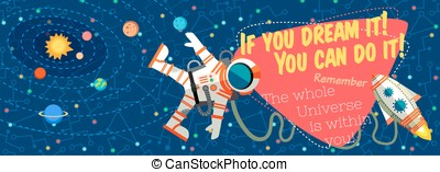 Vector illustration in flat style about outer space.