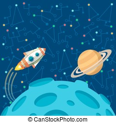 Vector illustration in flat style about outer space. Planets...