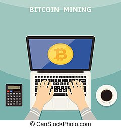 Vector illustration in flat style. Bitcoin and cryptocurrency concept. Hands with laptop and mining digital money app on the screen.