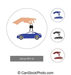 Vector illustration in flat style. Car with hand icon