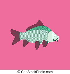 Vector illustration in flat style carp