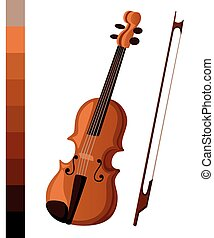 Vector illustration in flat style design Classical violin. Isolated musical instrument on white background.