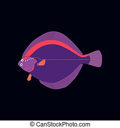 Vector illustration in flat style flatfish