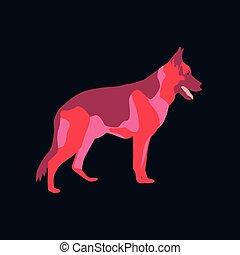 Vector illustration in flat style German Shepherd