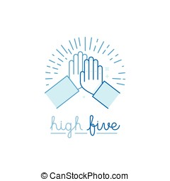 Vector illustration in flat style - high five