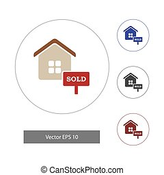 Vector illustration in flat style. Home icons