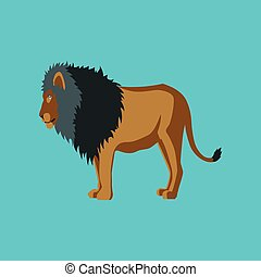 Vector illustration in flat style lion