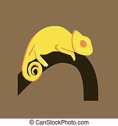 Vector illustration in flat style of chameleon
