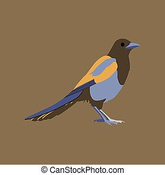 Vector illustration in flat style of magpie