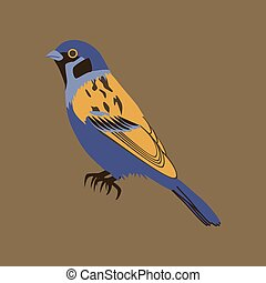 Vector illustration in flat style of sparrow