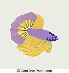 Vector illustration in flat style rooster fish