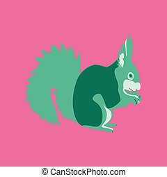 Vector illustration in flat style squirrel