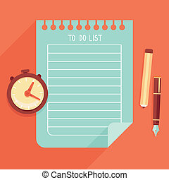Vector illustration in flat style - to do list on notebook ...
