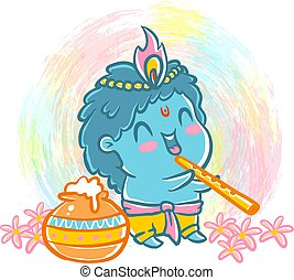 Little Krishna in kawaii style. - Vector illustration in...