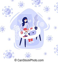 Vector illustration in lilac tones of woman in mask working at home with her laptop during quarantine. Illustration in flat style work from stay home office. Virus Covid-19 coronavirus