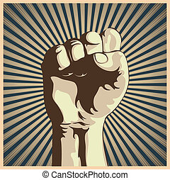 Vector illustration in retro style of a clenched fist held high in protest.