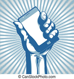 Vector illustration in retro style of a hand holding a cool modern cell phone