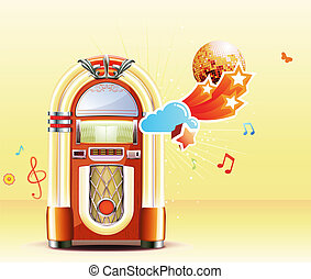 classic juke box - Vector illustration in retro style of...
