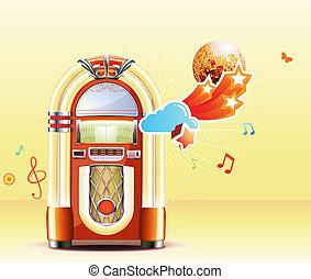 classic juke box - Vector illustration in retro style of...