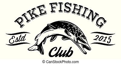 Vector illustration in sport style for fishing with pike