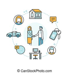 Vector illustration in trendy flat linear style - sharing...