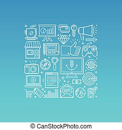 Vector illustration in trendy linear style related to ...