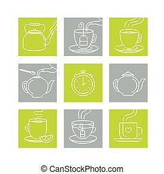 Vector illustration in trendy linear style - tea infusion ...