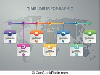 Vector illustration infographic timeline of seven options....