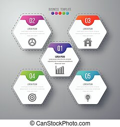 Vector illustration infographics five options.