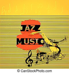 jazz music with saxophone and musical notes
