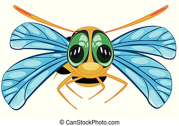 Vector illustration insect bee on white background