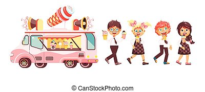 Vector illustration isolated characters children, pupils,...
