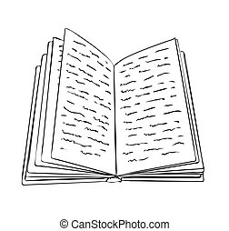 Vector illustration, isolated open book with scribbles in black and white colors, outline hand painted drawing