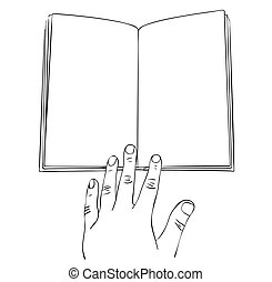 Vector illustration, isolated open empty book and hand on it in black and white colors, outline hand painted drawing