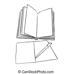 Vector illustration, isolated open empty book with notebook and pen in black and white colors, outline hand painted drawing