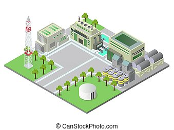 Vector illustration isometric Industrial buildings