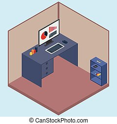 Vector illustration isometric room with a computer