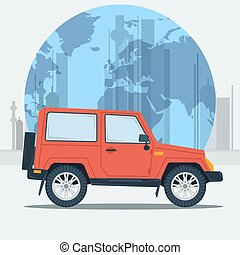 Vector illustration jeep car on town background