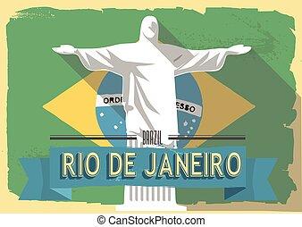 vector illustration jesus statue of rio de janeiro on retro...
