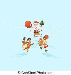 Vector illustration. Jolly Santa Claus in a sleigh, Santa's reindeer, and a rooster. The symbol of the new year. design elements. Merry Christmas. Cartoon Style and flat. Christmas tree.