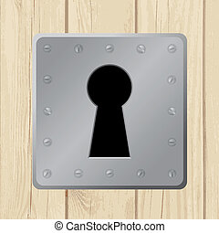 Vector illustration - keyhole on wooden door - Vector...