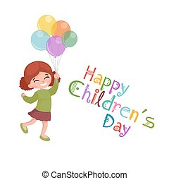 Vector illustration kids playing, greeting card happy...